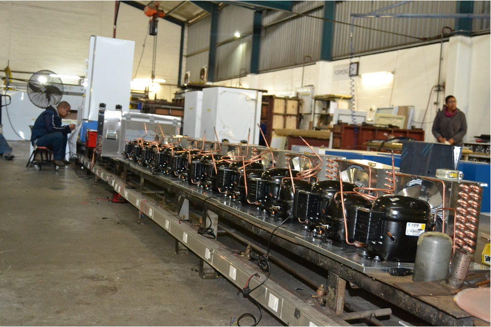 A row of compressors, ready to be installed in the various Minus40 products